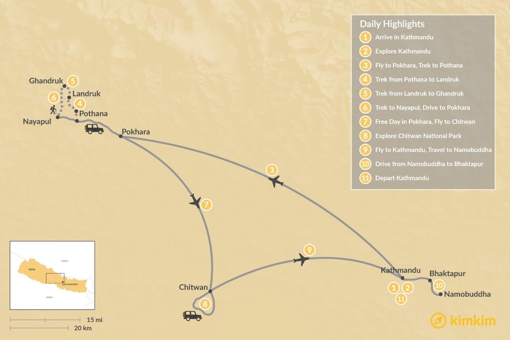Map of Ghandruk & Chitwan - 11 Days