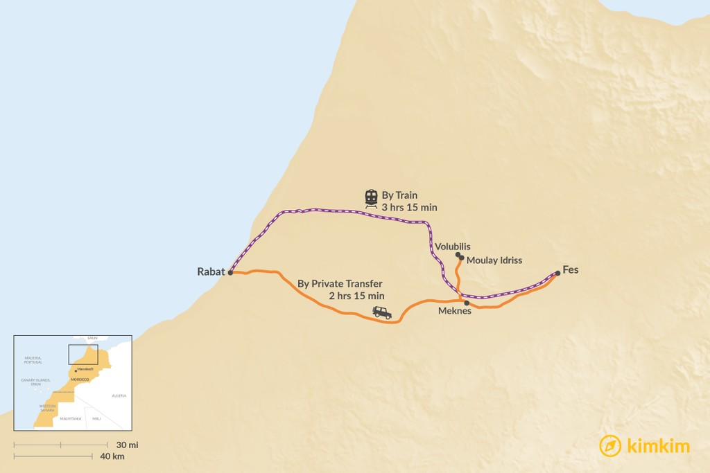 Map of How to Get from Rabat to Fes
