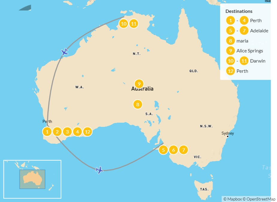 Map of Western Australia & The Red Center: Perth, Adelaide, Alice Springs, & Darwin - 13 Days