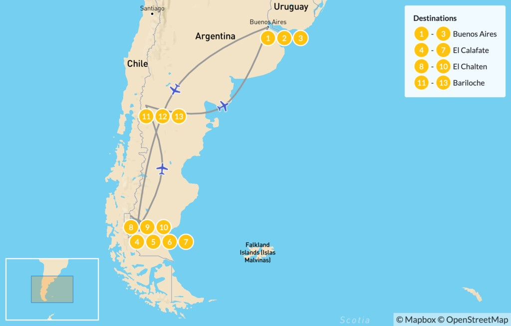 Map of Discover Patagonia: Buenos Aires, El Calafate, El Chaltén, & Barlioche - 14 Days