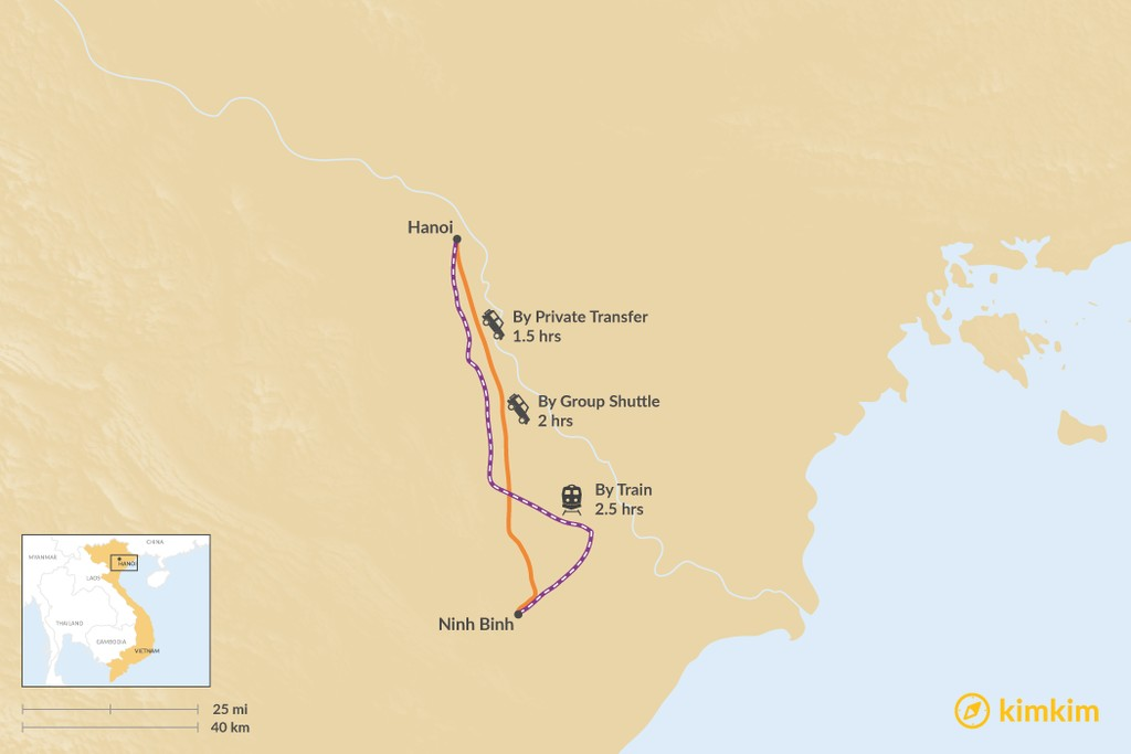 Map of How to Get from Hanoi to Ninh Binh
