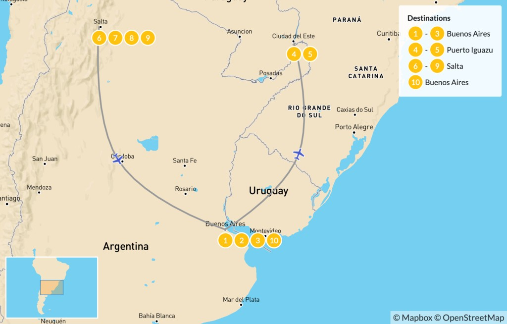 Map of Discover Northern Argentina - 11 Days
