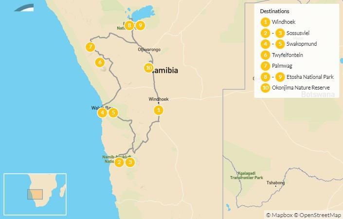 Map of Namibia Self-Drive Explorer:  Sossusvlei, Etosha, Swakopmund, & More - 11 Days
