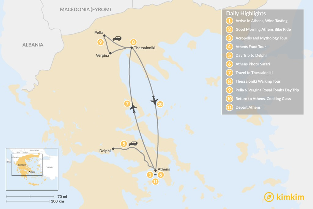 Map of Urban Adventures and History in Athens & Thessaloniki - 11 Days