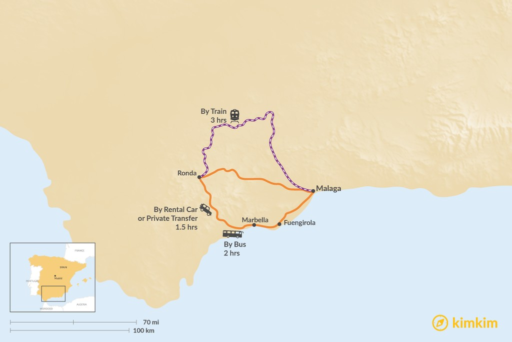Map of How to Get from Ronda to Málaga