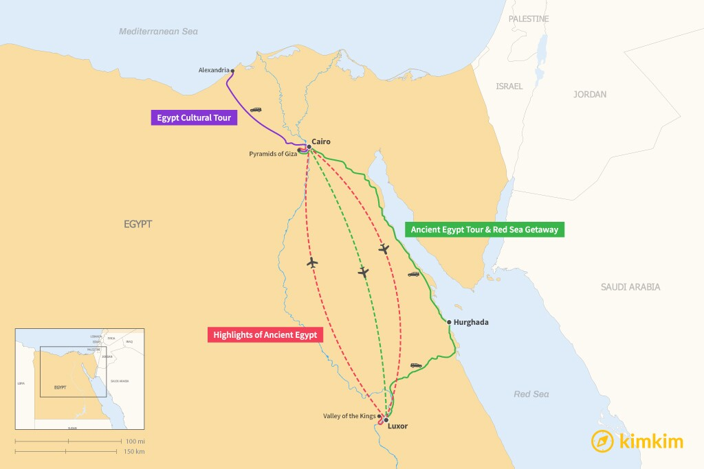 Map of 5 Days in Egypt - 4 Unique Itineraries