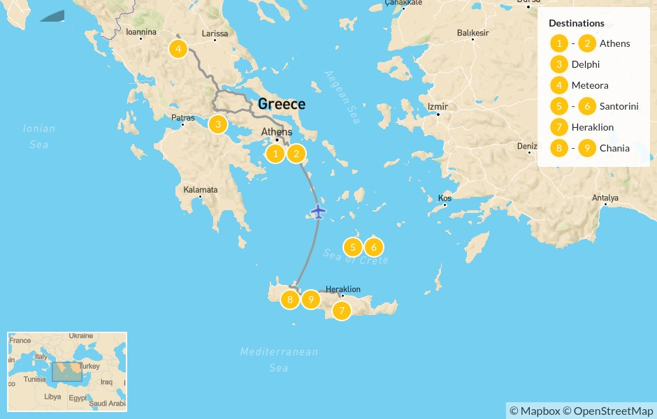 Map of Best of Greece: Athens to Crete  - 10 Days