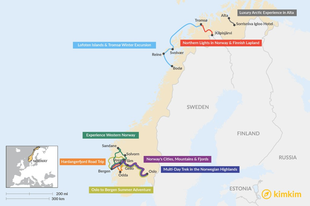 Map of 6 Days in Norway- 8 Unique Itinerary Ideas