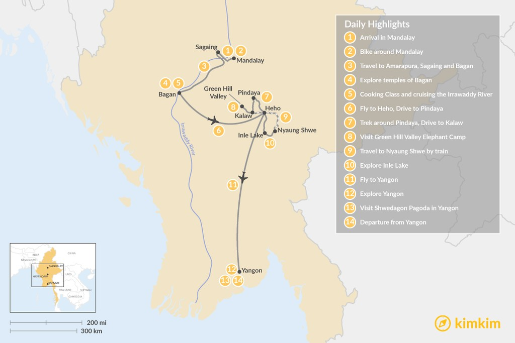 Map of Myanmar Encounters: People and Places - 14 Days