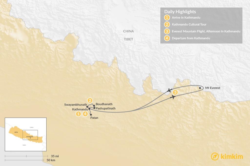 Map of Kathmandu Valley Sightseeing - 4 Days
