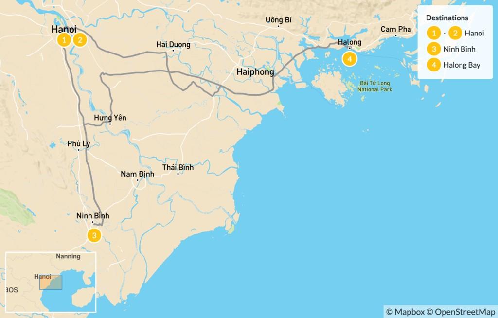 Map of Northern Vietnam Culture & Adventure Tour - 5 Days
