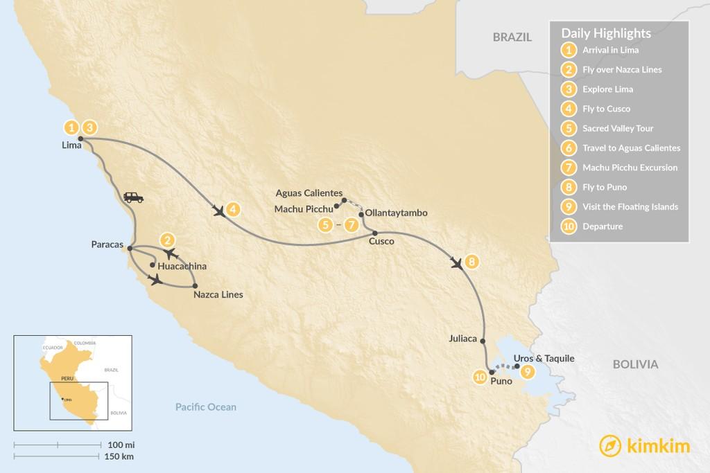 Map of Adventurer's Trip to Peru - 10 Days