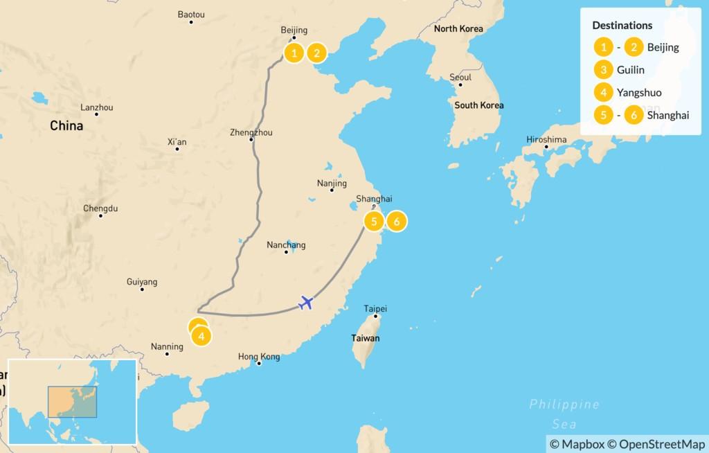 Map of Beijing, Guilin, & Shanghai - 7 Days