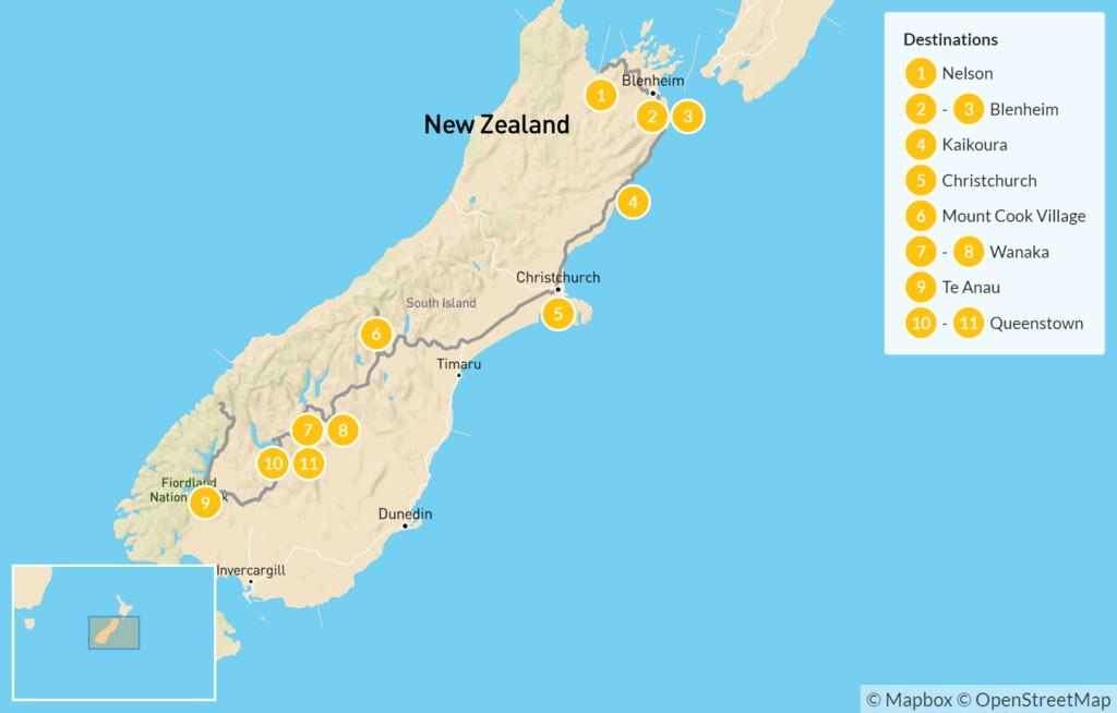Map of Highlights of New Zealand's South Island: Kaikoura, Mt. Cook, Queenstown & More - 12 Days