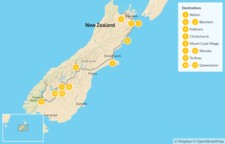 Map thumbnail of Highlights of New Zealand's South Island: Kaikoura, Mt. Cook, Queenstown & More - 12 Days