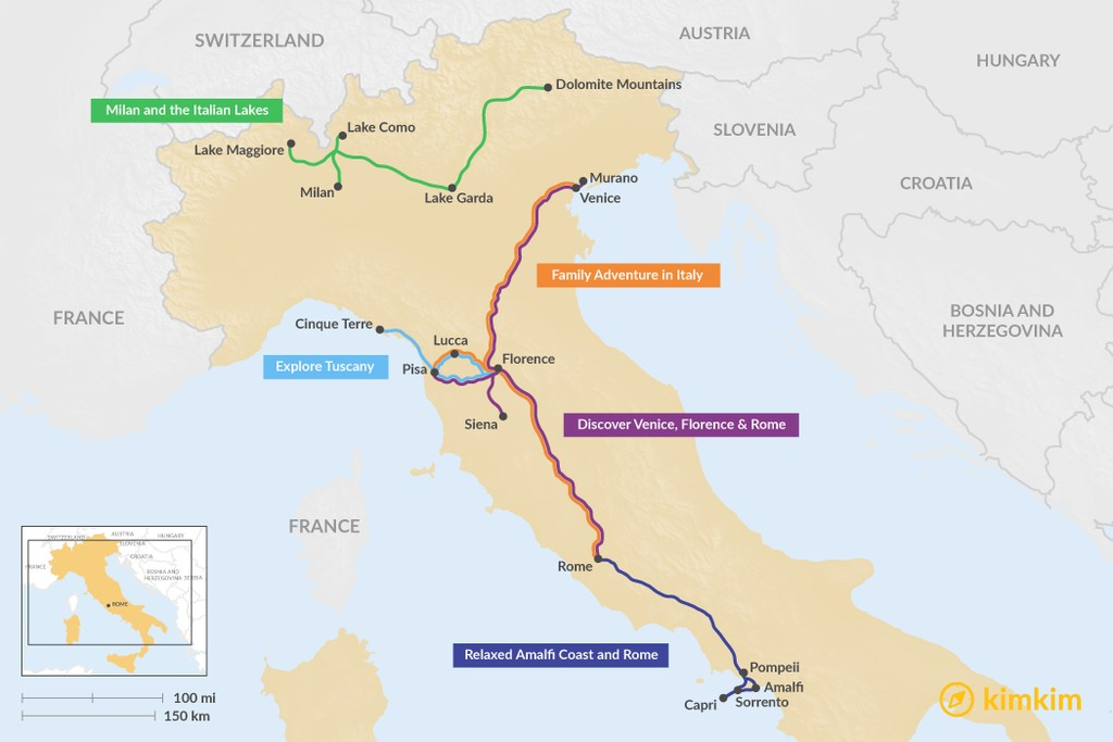 Map of 13 Days in Italy - 5 Unique Itinerary Ideas