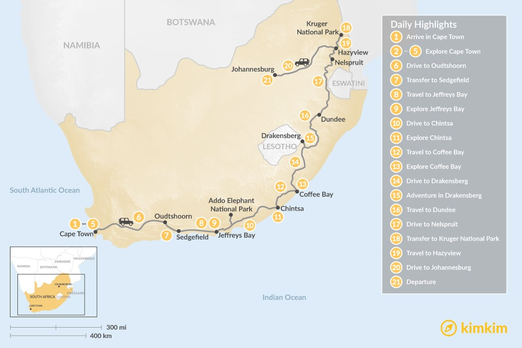 Map of Country of Contrasts Road Trip: Cape Town, Garden Route, Wild Coast, Kruger National Park, & More - 21 Days