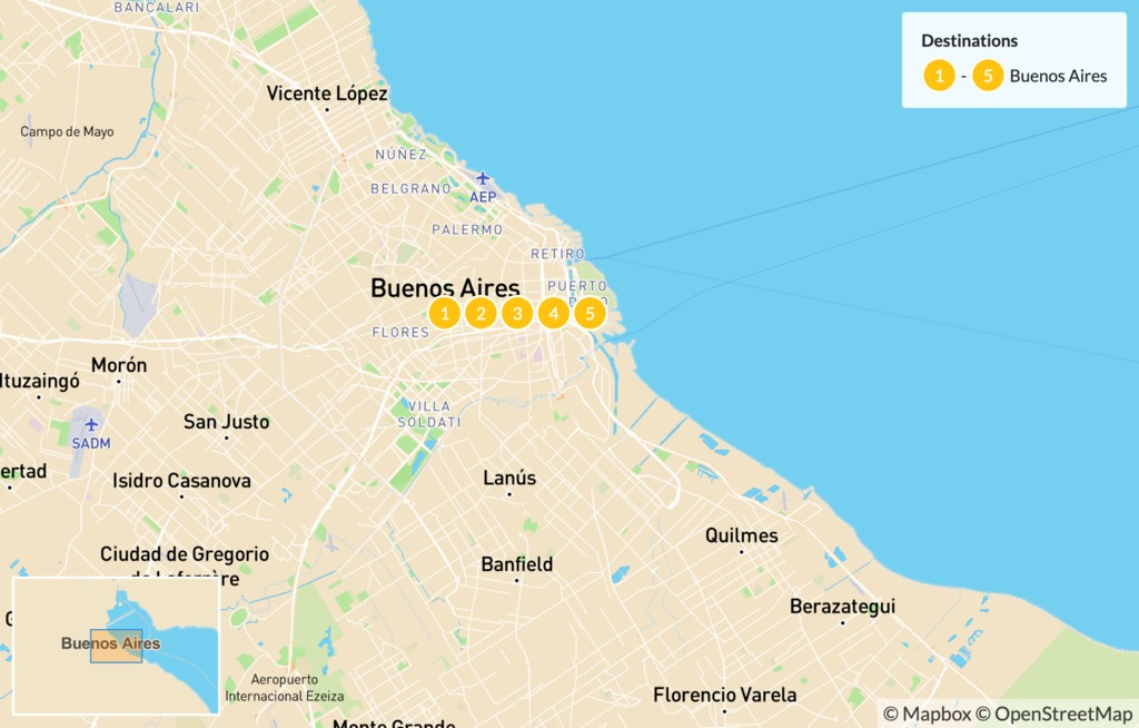 Map of Experience Buenos Aires - 6 Days