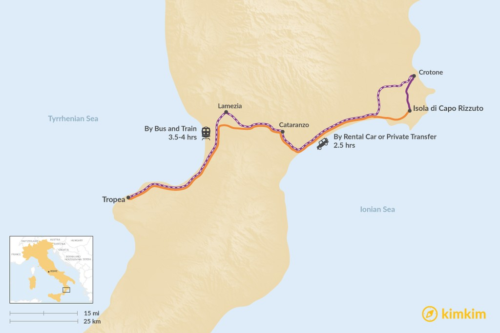 Map of How to Get from Isola di Capo Rizzuto to Tropea