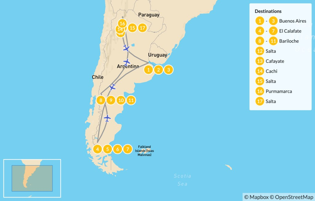 Map of Classic Argentina: Buenos Aires, Patagonia, and Salta - 18 Days