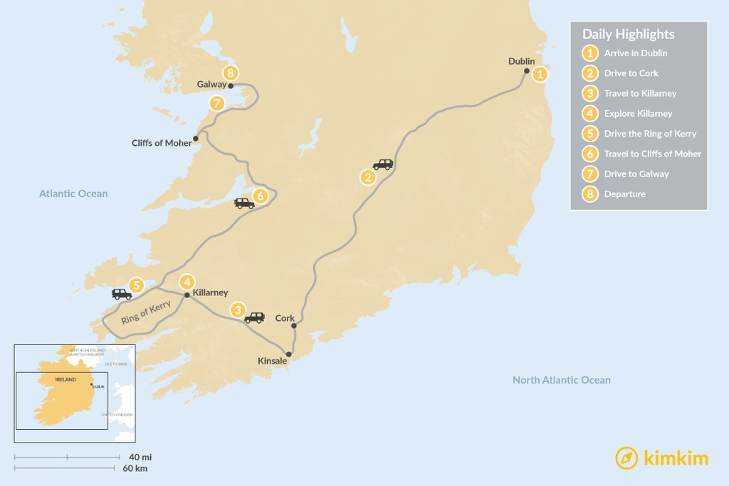 Map of South Ireland Scenic Road Trip - 8 Days
