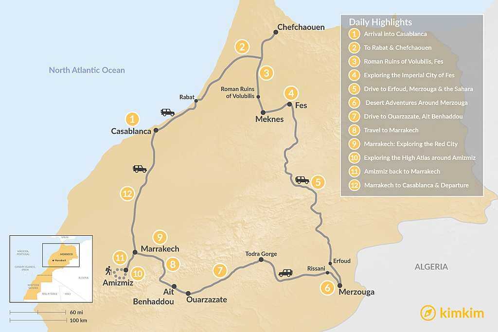 Map of Imperial Cities, Desert Grand Tour & Hiking in the Atlas - 12 Days