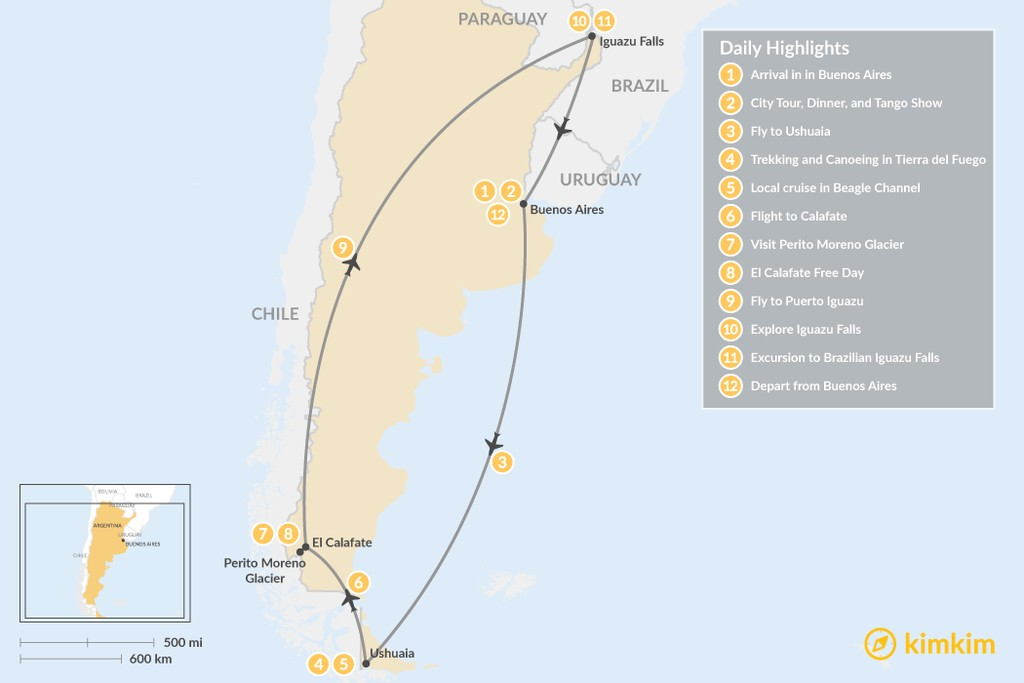 Map of Best of Argentina: Ushuaia, El Calafate & Iguazú Falls - 12 Days