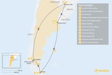 Map thumbnail of Best of Argentina: Ushuaia, El Calafate & Iguazú Falls - 12 Days