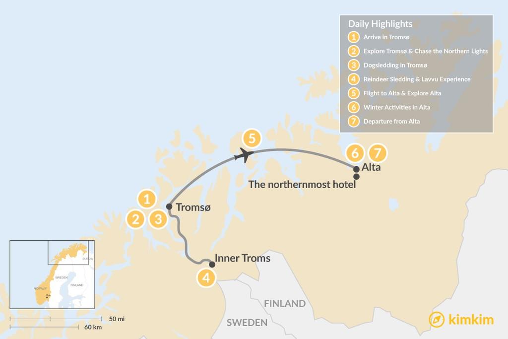 Map of Tromsø & Alta Winter Adventure - 8 Days