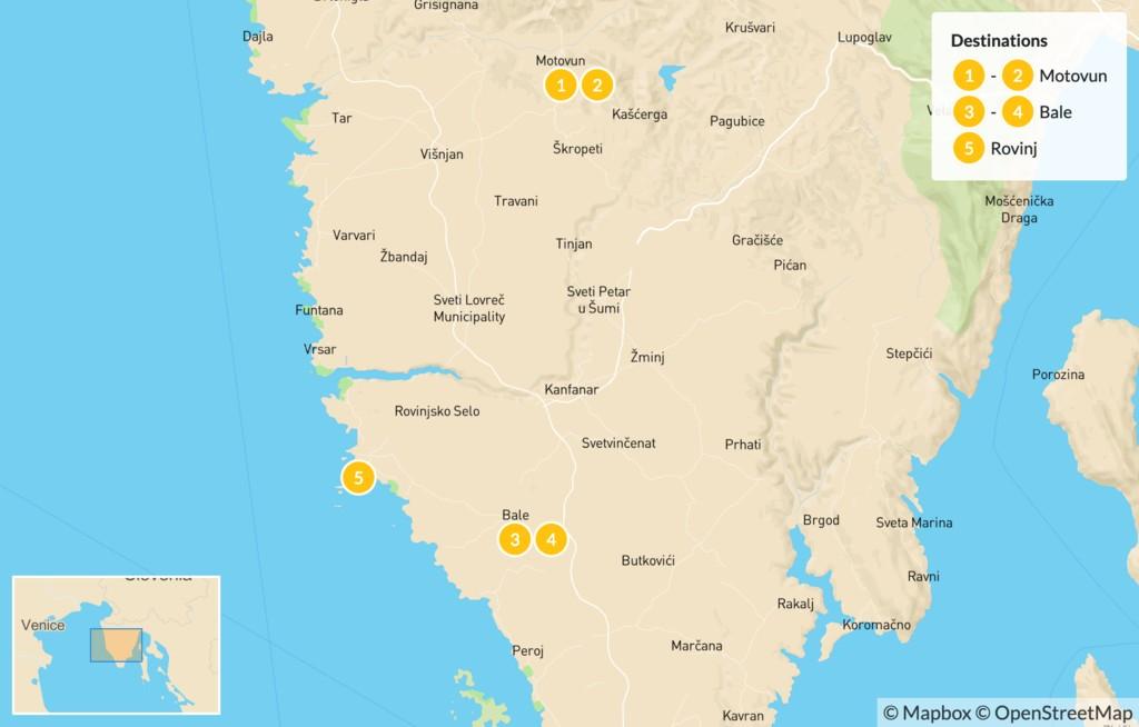 Map of Cycling in Croatia's Istrian Peninsula - 7 Days