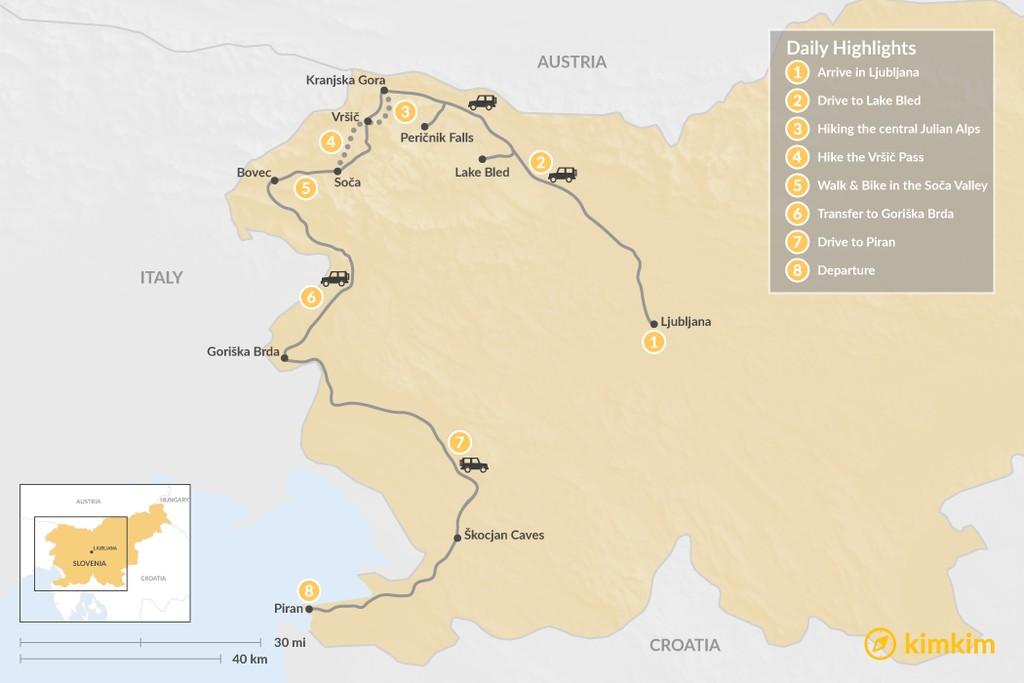 Map of Hiking & Biking in Slovenia - 8 Days