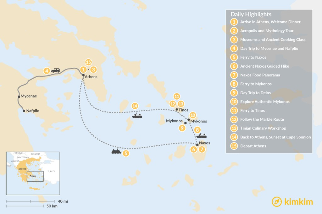Map of Past and Present in Athens, Tinos, Mykonos & Naxos - 15 Days
