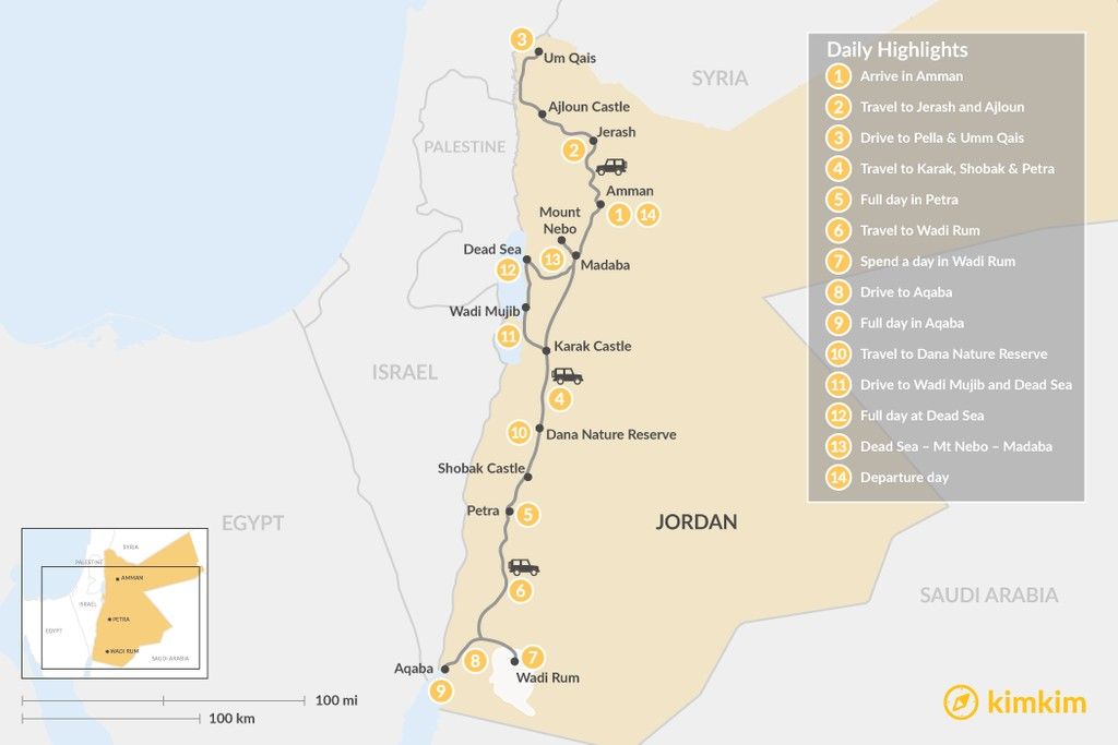 Map of Highlights of Jordan: Petra, Wadi Rum, Dead Sea, & More - 14 Days