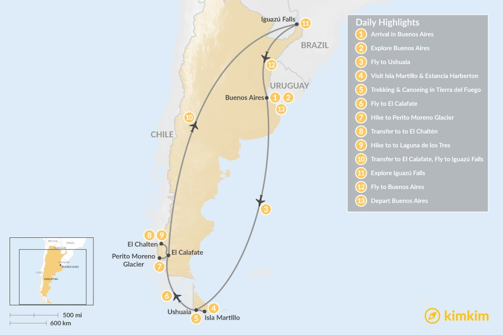 Map of Discover Argentina's  Highlights: Buenos Aires, Patagonia and Iguazú Falls - 13 Days