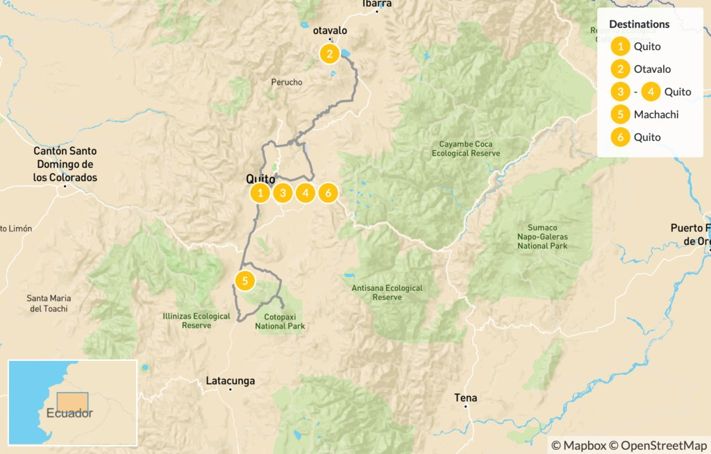 Map of Hiking in the Andes Mountains of Ecuador - 7 Days