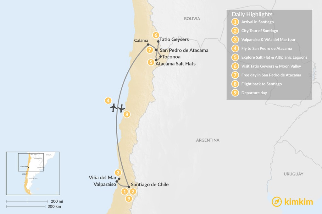 Map of Santiago & Atacama Desert - 9 Days