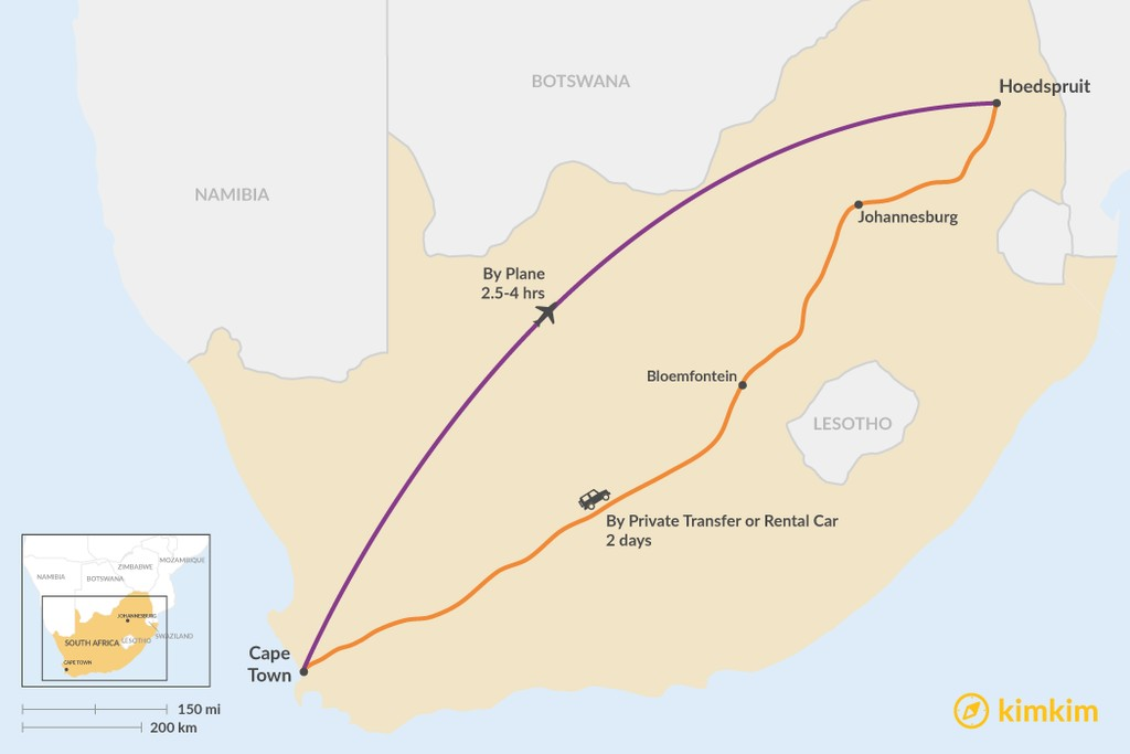 Map of How to Get from Cape Town to Hoedspruit