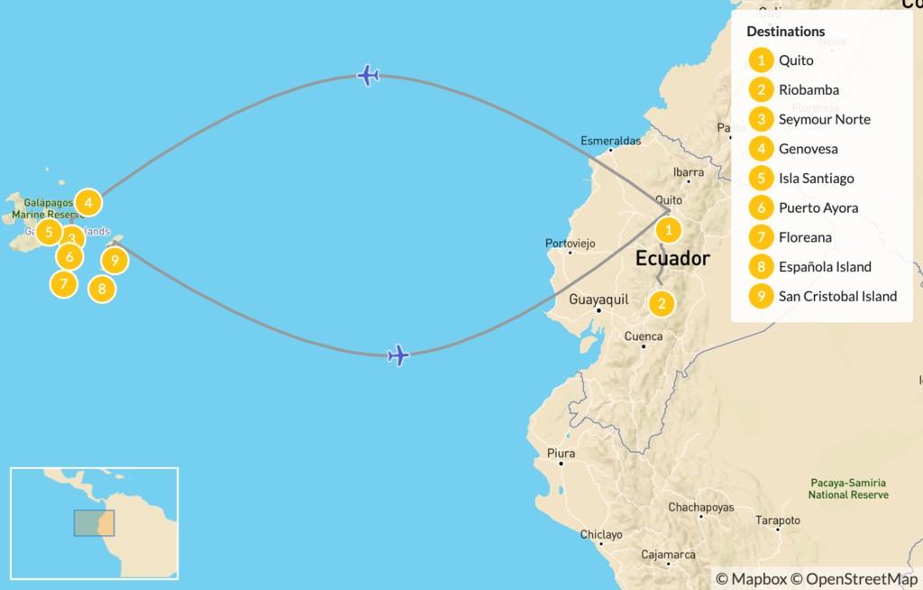 Map of Explore Ecuador: Quito & Galapagos Islands Cruise - 10 Days