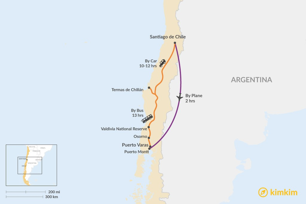 Map of How to Get from Santiago to Puerto Varas