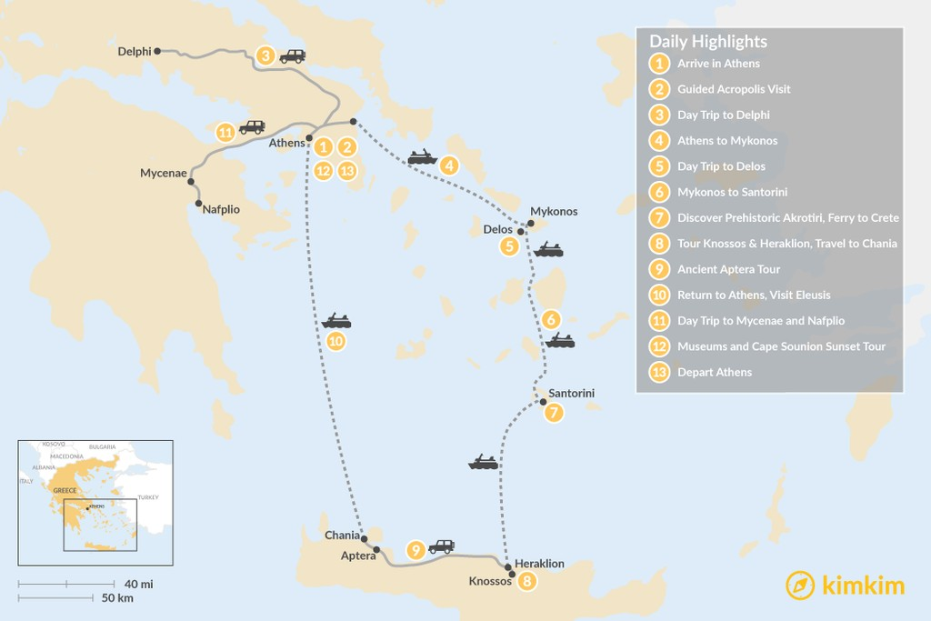 Map of Historic Athens, Mainland Greece, Cyclades and Crete - 13 Days