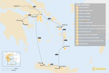 Map thumbnail of Historic Athens, Mainland Greece, Cyclades and Crete - 13 Days