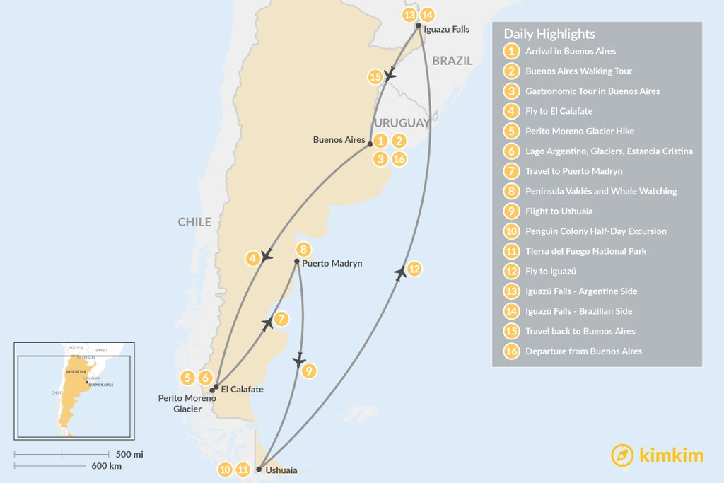 Map of Classic Argentina: Patagonia & Iguazú Falls - 16 Days
