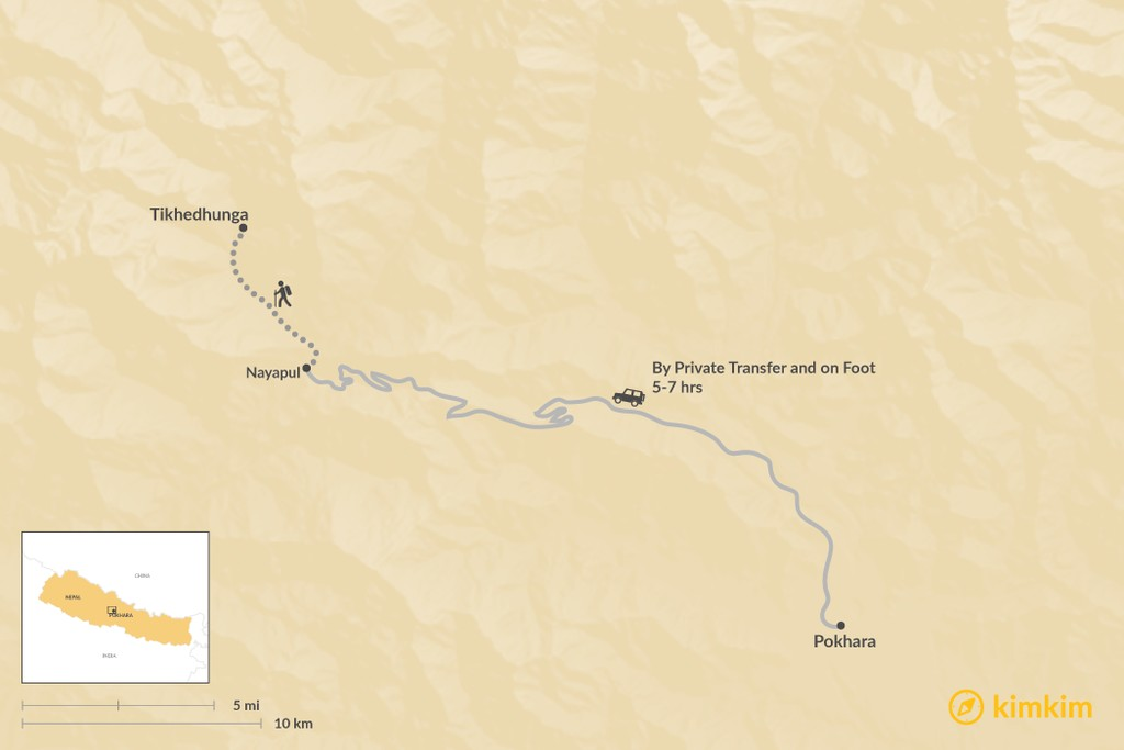 Map of How to Get from Pokhara to Tikhedhunga