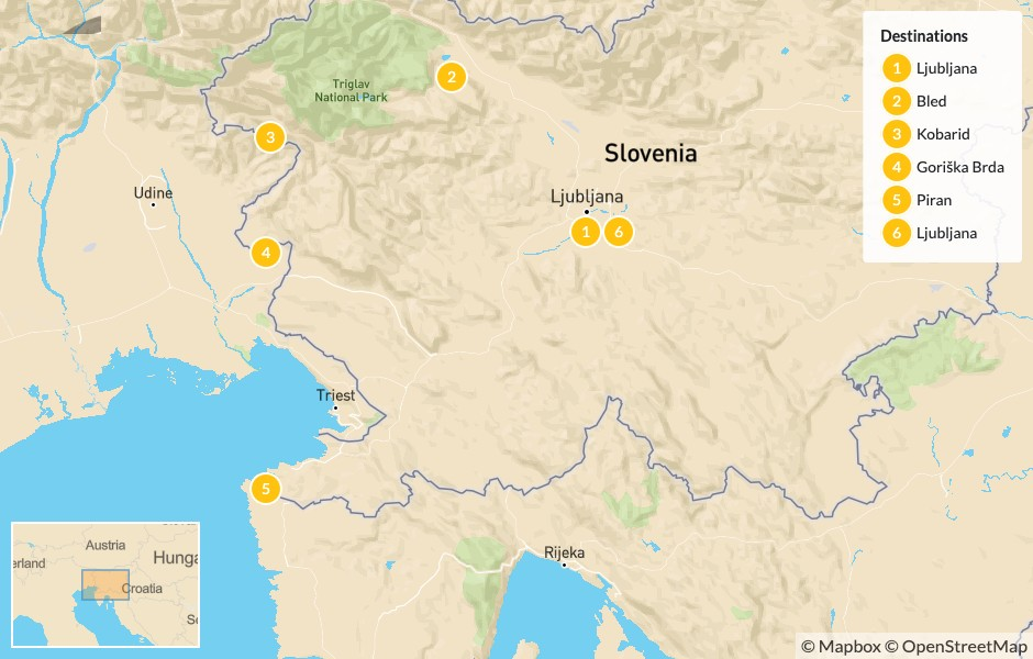 Map of Slovenia Cycling Trip: From the Alps to the Adriatic - 6 Days