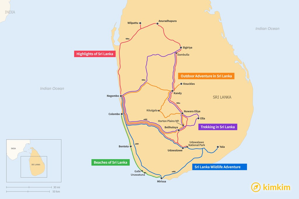 Map of 7 Days in Sri Lanka - 5 Unique Itineraries