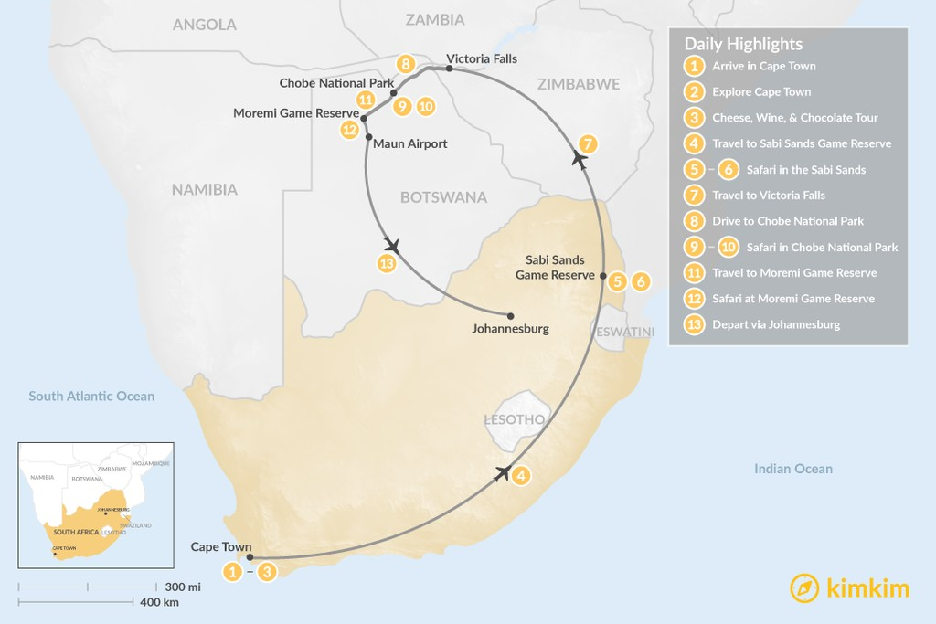 Map of Southern Africa Safari: Cape Town, Victoria Falls, Chobe National Park, & More - 13 Days
