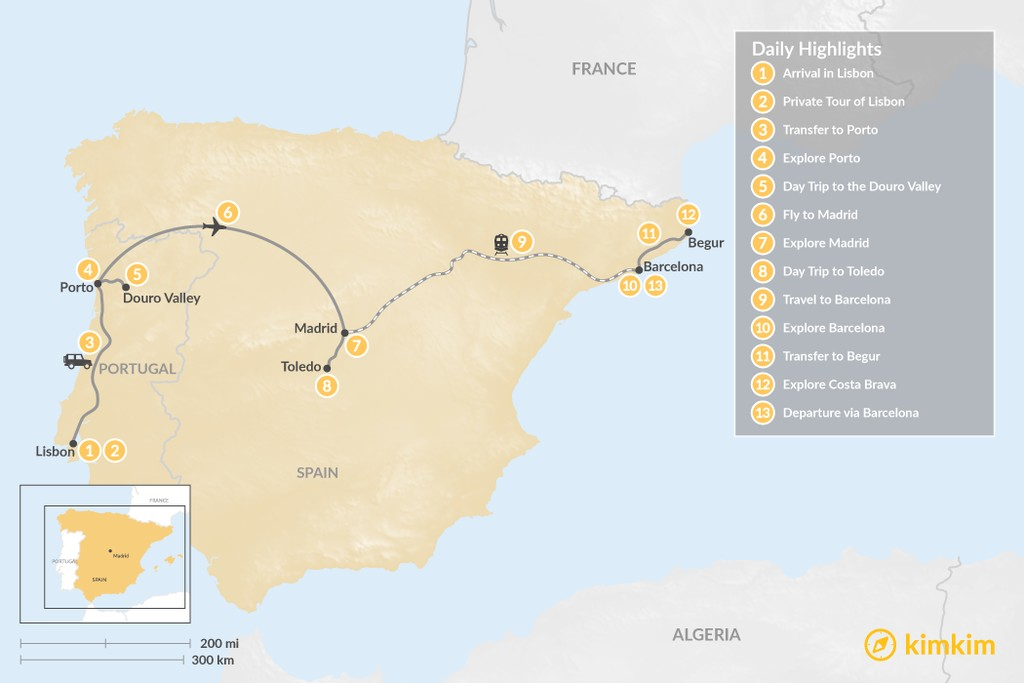 Map of Highlights of Spain & Portugal: Cities, Beaches, & Culture - 13 Days