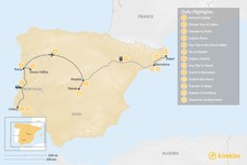 Map thumbnail of Highlights of Spain & Portugal: Cities, Beaches, & Culture - 13 Days