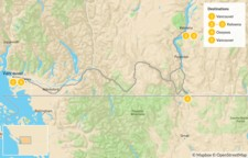 Map thumbnail of Okanagan Valley Road Trip: Wine & Outdoors - 6 Days