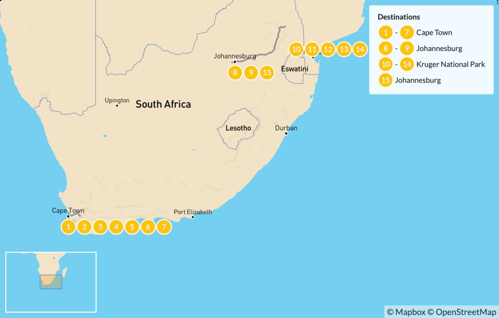 Map of Classic South Africa: Cape Town, Johannesburg, & Kruger Safari - 16 Days